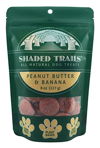 Shaded Trails All Natural and Vegan Dog Treats - Peanut Butter & Banana - Grain Free - Made in USA - 8 oz