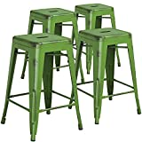 """Flash Furniture 4 Pk. 24"""" High Backless Distressed Green Metal Indoor-Outdoor Counter Height Stool Review"""
