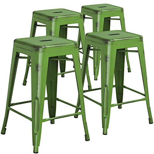 High Backless Distressed Metal Indoor Counter Height Stool