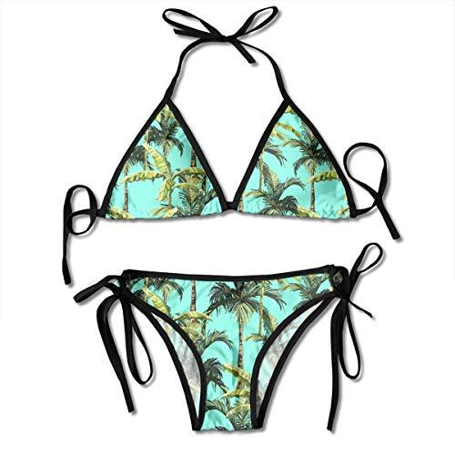 BIK2BEACH Women's Bikini Sets Palm Trees Banana Palm Tree, Pattern Printing Bathing Suit (Tree Pattern Palm)