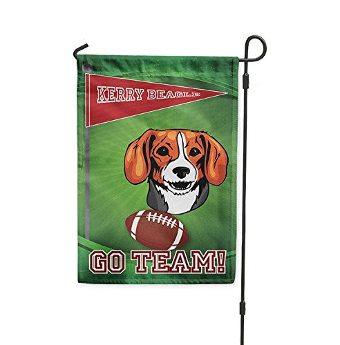Football Fan KERRY BEAGLE DOG Yard Patio House Banner Garden Flag w/ Iron Stake Flag & Garden Pole 8