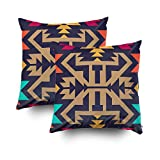 ROOLAYS Decorative Throw Square Pillow Case Cover 16X16Inch,Cotton Cushion Covers Tribal Pattern Textile Design Stylish Both Sides Printing Invisible Zipper Home Sofa Decor Sets 2 PCS Pillowcase
