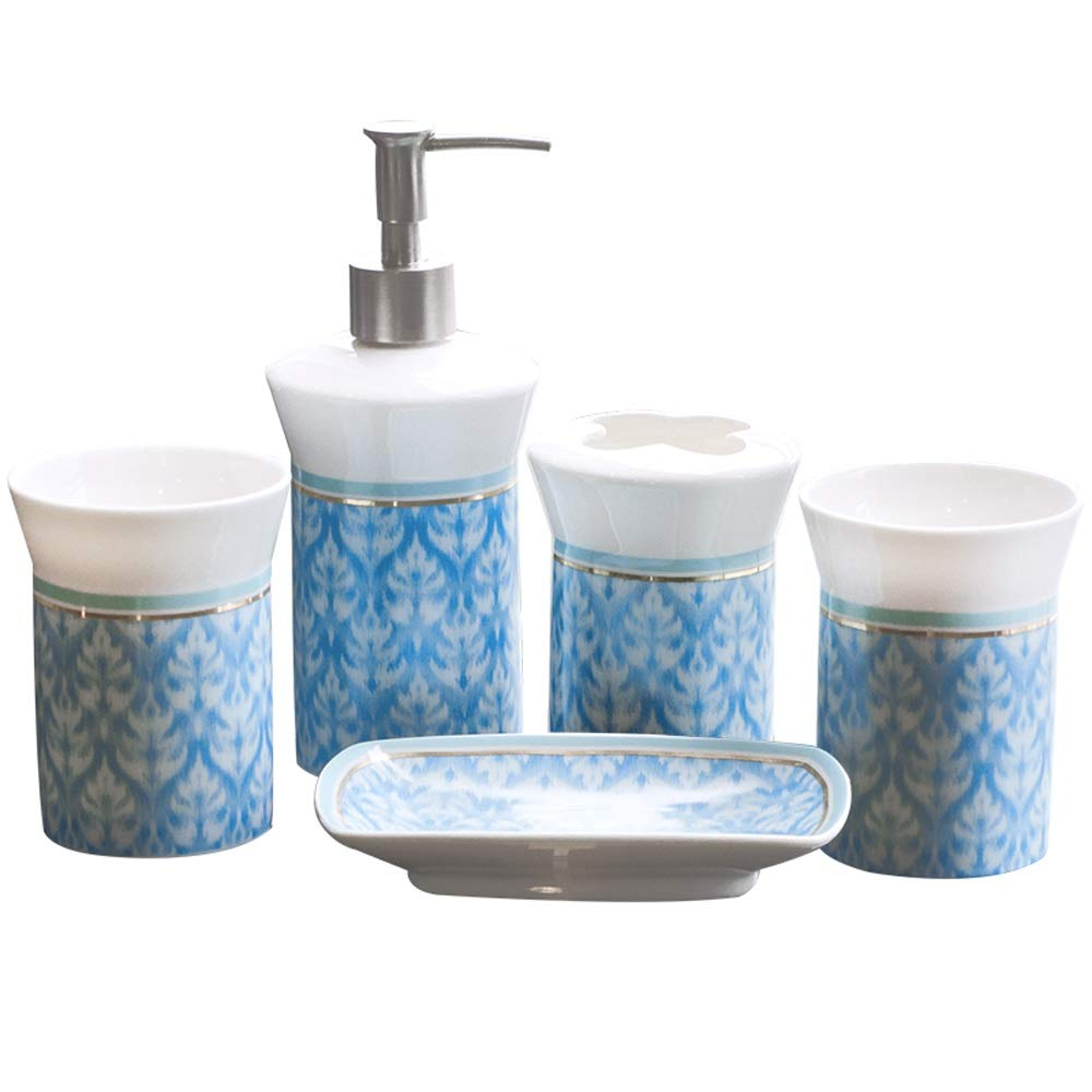 JU FU Bathroom Accessories Set Ceramic Bathroom Five-Piece Gold Stroke Toothbrush Toothbrush Holder soap Dish Mouth Cup Set @@