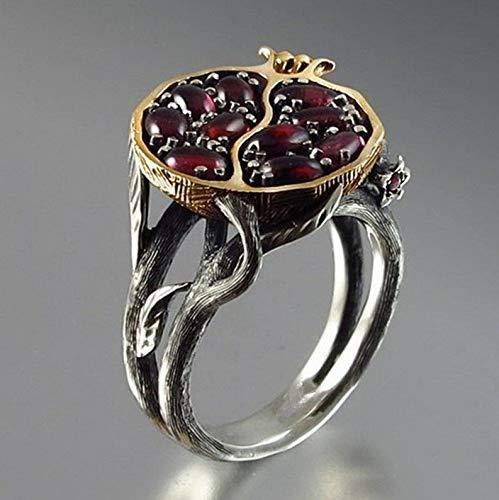 Waldenn 925 Silver18K Yellow Gold Fil Garnet Women Ring Wedding Jewelry Size 6-10 | Model RNG - 14982 | ()