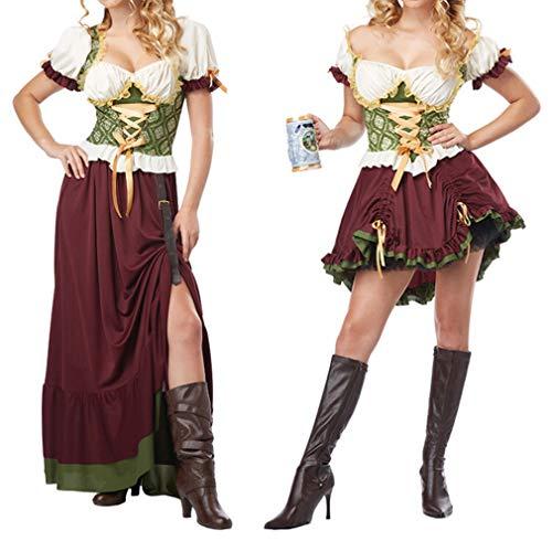 Fete Blouse pour Robe Manches et avec Couleur Tablier Dirndl Courtes F Robe Bavire de Femme Court Traditionelle Carnaval Dirndl D'Octobre pour Oktoberfest PPafpwtq