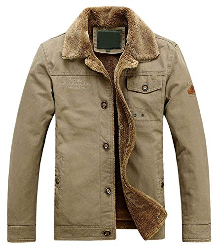 chouyatou Men's Winter Single Breasted Sherpa Lined Twill Work Barn Jacket (Large, Khaki)