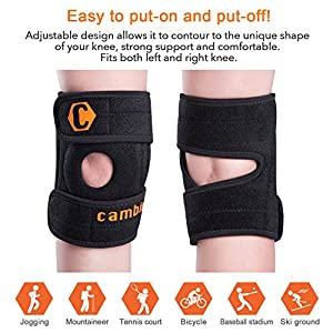 Cambivo Knee Brace for Men & Women, Best Adjustable Support for Running, Athletic Sports, CrossFit, Arthritis, ACL injury, Meniscus tear, Open Patella Design, Relieving Pain