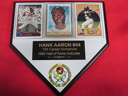 Hank Aaron Braves 3 Card Collector HOME PLATE Plaque EXCLUSIVE DESIGN to AMAZON!