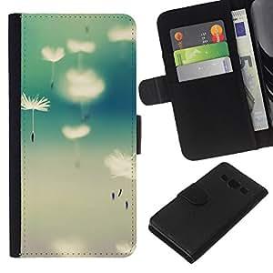 KLONGSHOP // Tirón de la caja Cartera de cuero con ranuras para tarjetas - Semillas de Vida Naturaleza trullo Primavera - Samsung Galaxy A3 //
