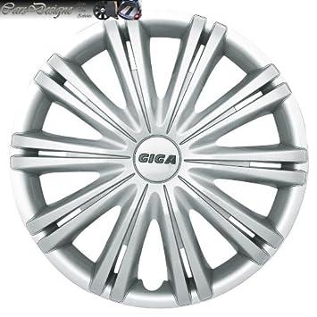 Coche 14 Pulgadas 14 Tapacubos Tapacubos aluminio Look Giga Plata ABS apto para Alfa Romeo