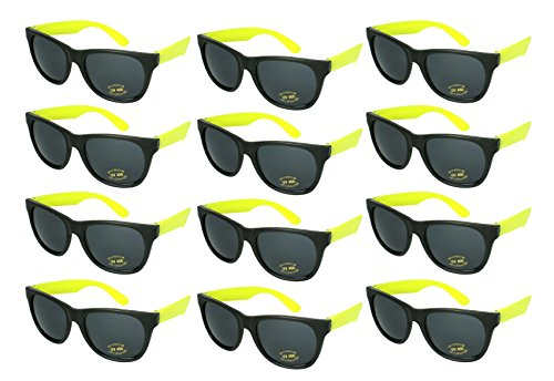 Edge I-Wear 12 Pack 80's Style Adult Neon Party Sunglasses Bridal Wedding Party Favors 5402R/Y-12 -