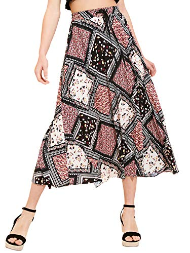 Milumia Women's Boho Scarf Print Drawstring A Line Pleated Skirt Multicolor-6 Large