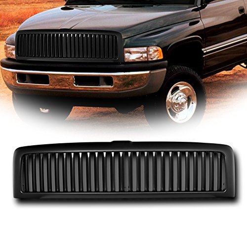 Dodge Vertical Conversion Kit - VXMOTOR for 1994-2002 Dodge Ram - Matte Black Badgeless Vertical Front Hood Bumper Grill Grille Kit Cover Guard Replacement Conversion ABS