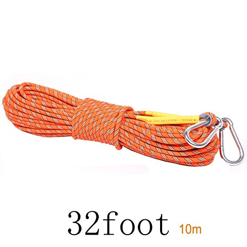 Outdoor Climbing Rope - LUOOV 10M(32ft) 20M(64ft) 30M (98ft) 50M (160ft)Rock Climbing Rope,Fire Rescue Escape Rope,Static Rope,8mm Diameter Rope