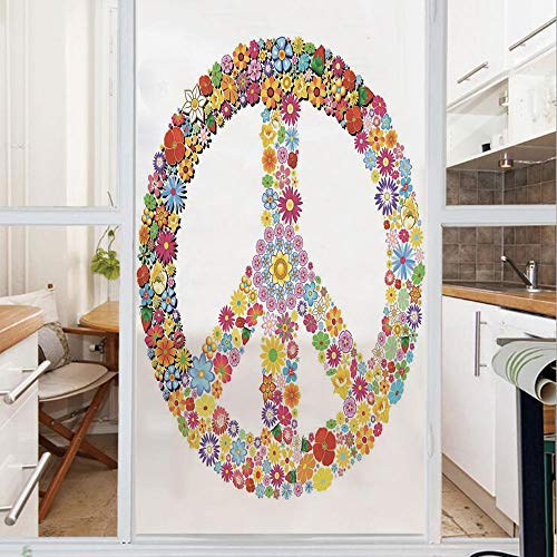 Decorative Window Film,No Glue Frosted Privacy Film,Stained Glass Door Film,Floral Peace Sign Summer Spring Blooms Love Happiness Themed Illustration Print,for Home & Office,23.6In. by 59In Multi