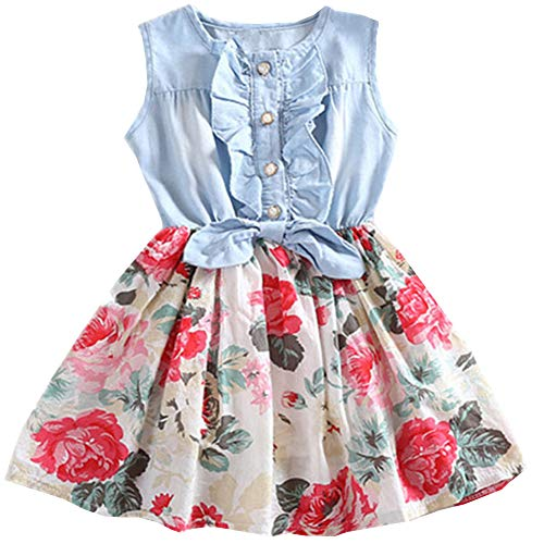 Little Girls Dress, Sleeveless Cotton Country Flower Dress, Summer Casual Dress for Toddler Girls(White, 2T(1-2 -