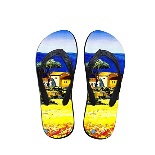 Linhuizhen Oil Painting Flip Flops Summer Colorful Beach Sandals Shower Slippers for Women ()