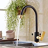 Kitchen Faucet Black Kitchen Faucet Hot and Cold Dish Washing Basin Sink Sink Can Be Rotated Space Aluminum Single Kong Shuangshui,B