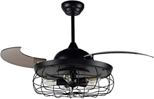 Ovlaim 44 Inch Ceiling Fans 3 Retractable Blades LED Ceiling Fan with Remote Control Bedroom Fan Chandelier Retractable Blade Mute motor Indoor Fan Light (Black)