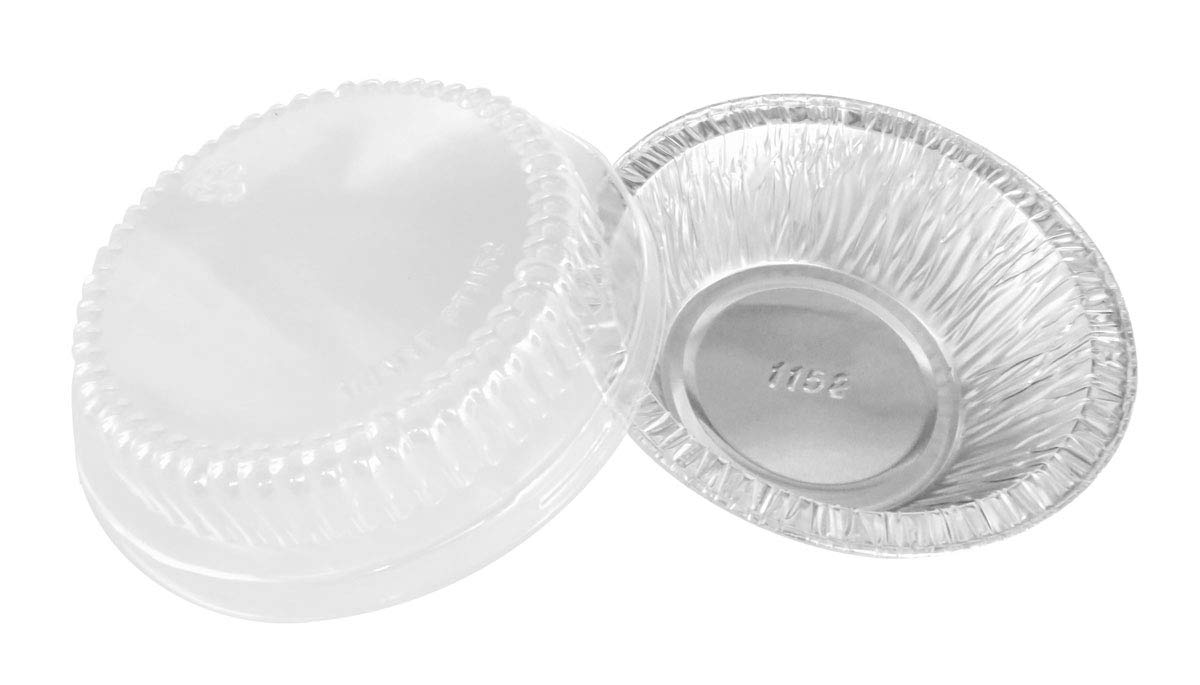 Disposable Aluminum 4'' Deep Mini Pie/Tart Pan with Clear Dome Lids 1152P (200) by AGIANT (Image #3)