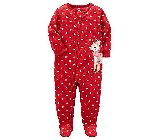 (Carter's Baby Girls 1 Piece Footed Fleece Pajamas PJ Red Reindeer W Scarf 6M)