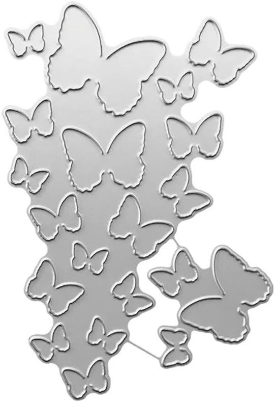 Silber f/ür Scrapbooking zum Basteln Bastelschablone Pr/ägung von Papierkarten Metall P12cheng Metallstanzschablone Schmetterling