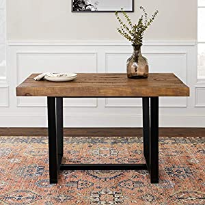 Walker Edison Furniture 6 Person Modern Farmhouse Distressed Wood Rectangle Kitchen Dining Table, 52 Inch, Rustic Oak