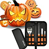 Halloween Professional Pumpkin Carving Tool Kit Stainless Steel Cutting Supplies Sturdy Sculpting Set 5 pieces with 10 Stencils Orange Review