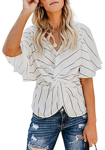 (ELF QUEEN Womens Casual Short Sleeve V Neck Ruched Twist Floral Tunic Tops for Women Shirts Tops and Blouse Strip White Medium )