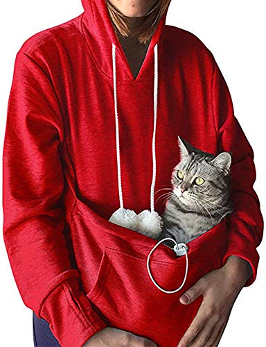 Pet Kangaroo Pouch Fashion Hoodies Pullover Cat Dog Holder Carrier Sweatshirt Red M]()