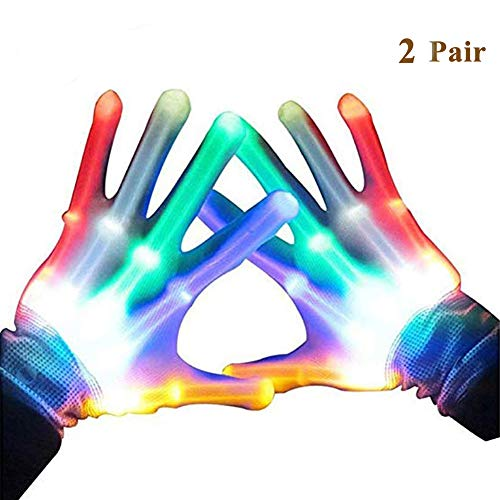 Eforoutdoor 2 Pair LED Gloves Party Light Show Skeleton Halloween Gloves Color Changing for Novelty, Halloween Costume Game Party Concert Decoration Gloves ()