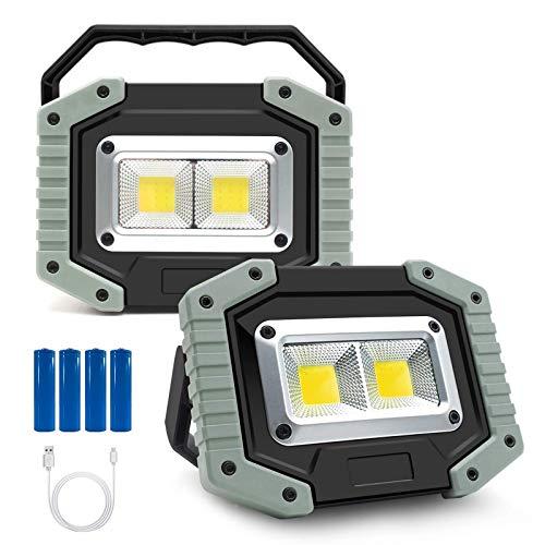 WOERD Led Baustrahler Akku, Wiederaufladbares LED Arbeitsleuchte, 3 Modi Tragbares Wasserdichter Camping Licht Akku…