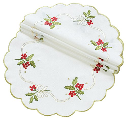(Xia Home Fashions Holly Berry Embroidered Collection Christmas Doilies, 12-Inch Round, Set of)