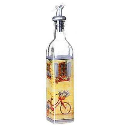 Alien Storehouse Aceite de Vidrio Pintado Hermoso y vinagre Botella Aceite contenedor Aceite dispensador, E