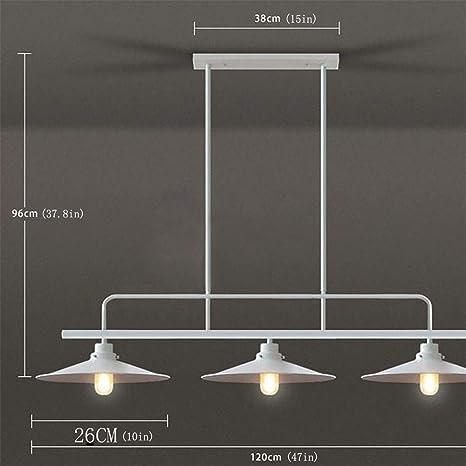Jiafum Luces de Mesa de Billar rústicas, araña de Metal Industrial Blanca para Sala Comedor Mesa de Billar Luces de Isla Island 3 Cabezas de lámpara: Amazon.es: Hogar