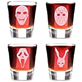 Cheap Set of 4 Minimalist Scary Movie Mask Shot Glasses; Featuring Jigsaw, Jason, Scream and Frank the Rabbit. Inspired By Cult Classic Horror Stories.