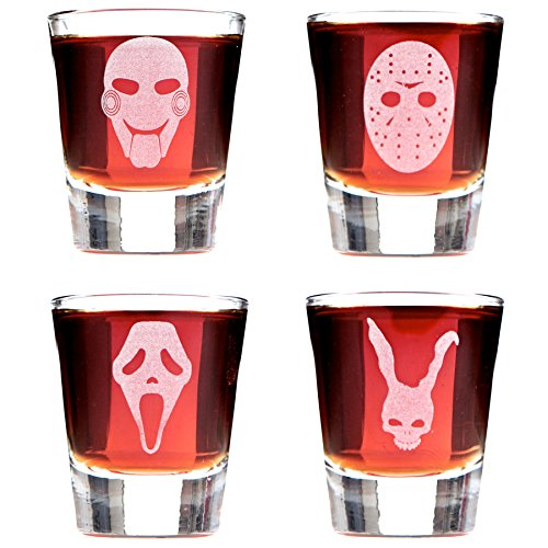 Set of 4 Minimalist Scary Movie Mask Shot Glasses; Featuring Jigsaw, Jason, Scream and Frank the Rabbit. Inspired By Cult Classic Horror Stories.