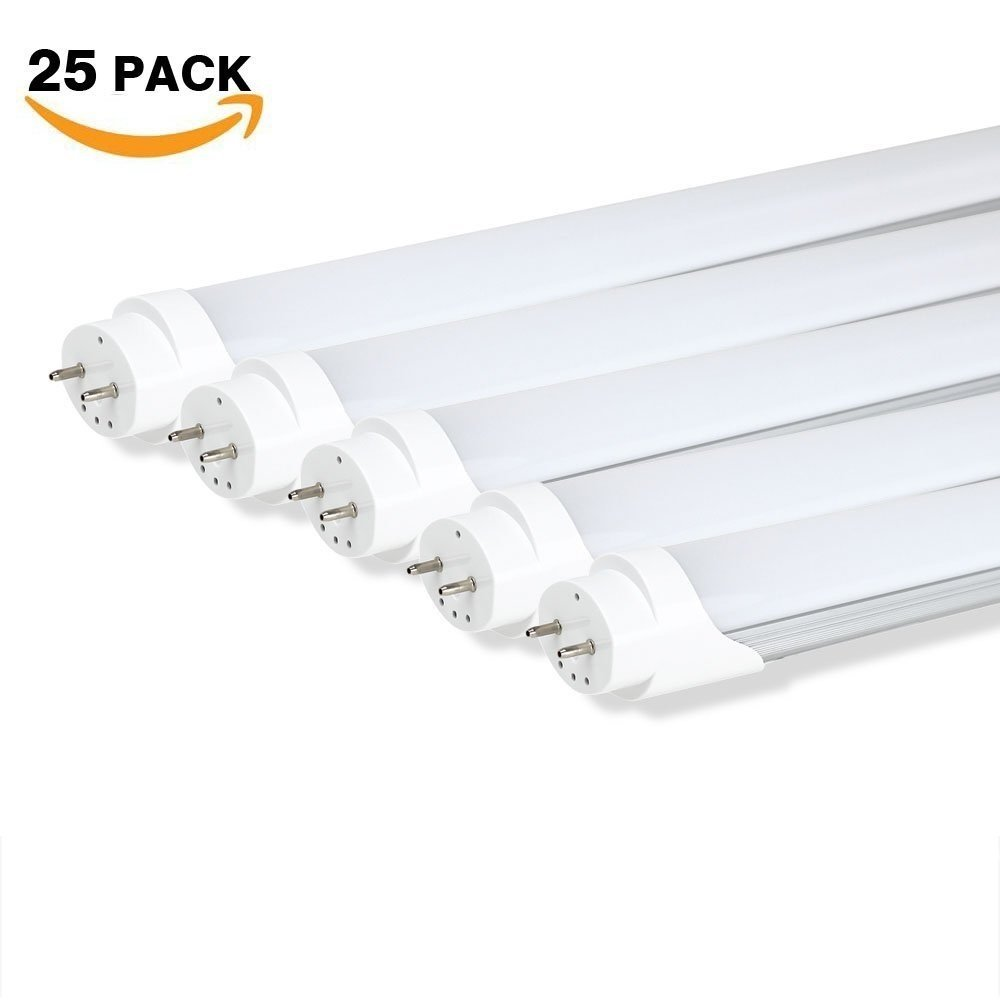 25-pack T8 LED Tube Light, 4ft, Dual-End Power, 18w, Bright Cool White 6000K, Clear Cover