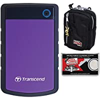 Transcend 2TB USB 3.0 StoreJet 25H3 Portable Hard Drive with Case + Cleaning Cloth