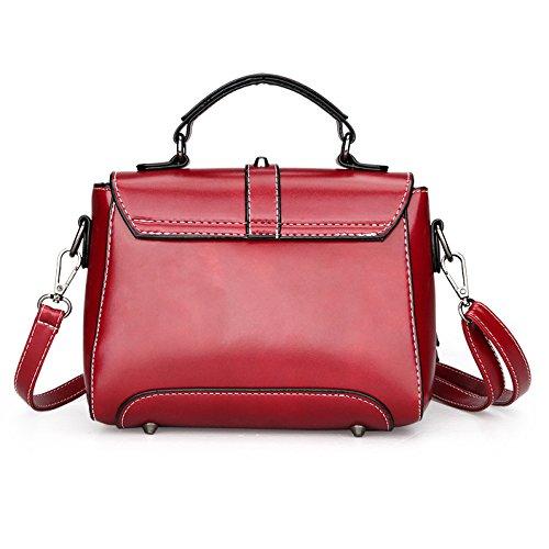 HGDR Frauen Mini Handtasche Schultertasche Umhängetasche Damen Portable Travel Office Bag Red