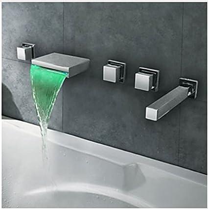 Amazon Com Gowe Led Light Waterfall Bathtub Faucet Wall Mount 5