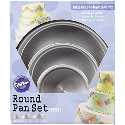 Wilton Perfect Performance Round Cake Pan Set, 2105-0472 (Tin Stacking)