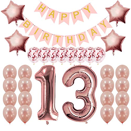 (Rose Gold 13th Birthday Decorations Party Supplies-13 Birthday Gifts for Girls, 13th Birthday Banner and)
