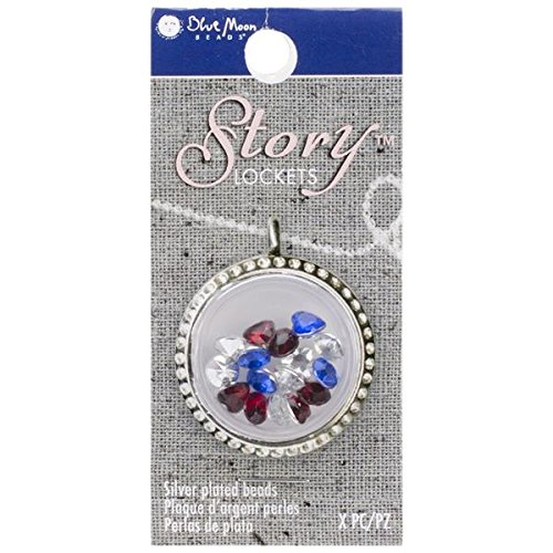 Blue Moon Beads Story Lockets Acrylic Charm, Patriotic, Assortment ()