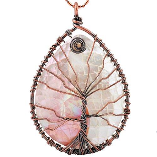 SUNYIK Teardrop Pink/White Abalone Shell Tree of Life Pendant Necklace