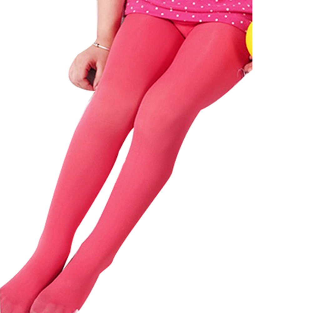 TRENTON Kids Girl Solid Color Ballet Dance Stretch Opaque Pantyhose Footed Tights