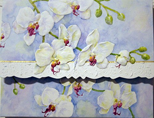 Carol Wilson White Orchids 10 ct Embossed Note Card Set For Arts Sake