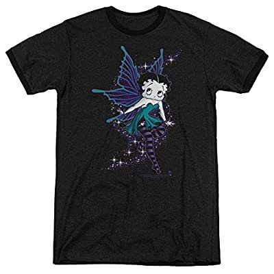Betty Boop Sparkle Fairy Mens Adult Heather Ringer Shirt Black Lg