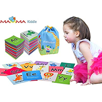 MAMMA Kiddie Animal ABC Soft Activity Cloth Cards Set, Kids Alphabet Letters Learning Cards with Letters Words Cute Animal Pictures, Early Educational Learning Toys for Baby Boys Girls Infant Toddlers: Toys & Games