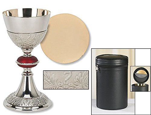 Catholic Brass 24KT Gold Tone Grape Patterned Red Node Chalice and Paten Set with Holding Case by Faithful Gifts